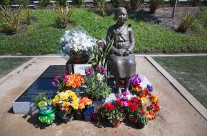 "Korean-American groups persuaded the city of Glendale, Calif., near Los Angeles, to build a bronze statue of a ""comfort woman.""Monica Almeida / The New York Times."
